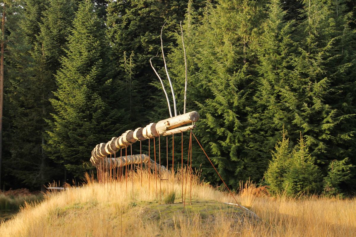 Arboretum Mefferscheid - Sentier du Dragon - Cantons de l'Est - Vue d'une sculpture en bois