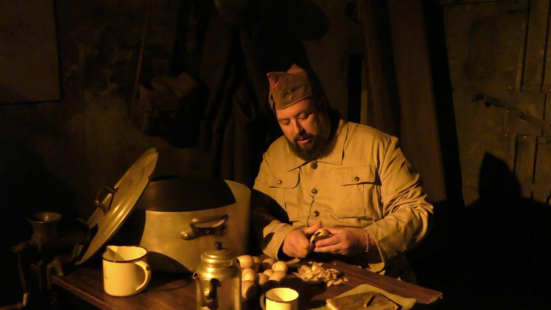 Soldier working in the galleries - Fort d'Eben-Emael