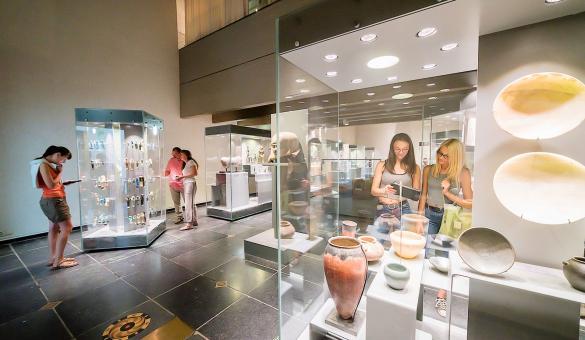 Des visiteurs admirent les collections exposées dans les vitrines du Musée Royal de Mariemont