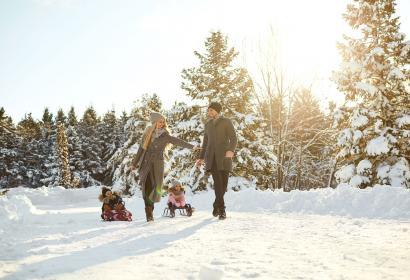 Famille - balade - hiver - traineau