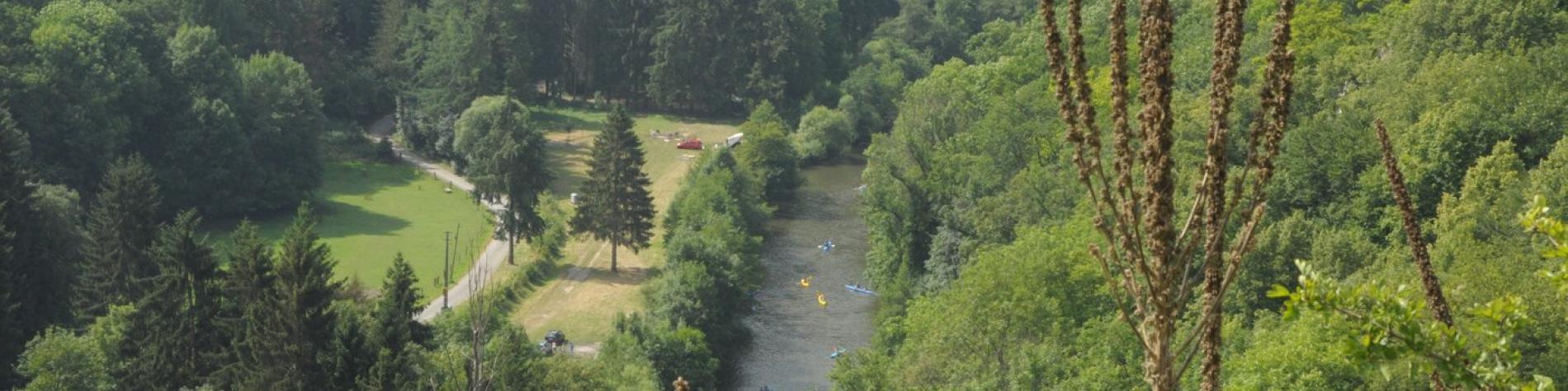 Parc de Furfooz - Vue sur kayaks sur la Lesse