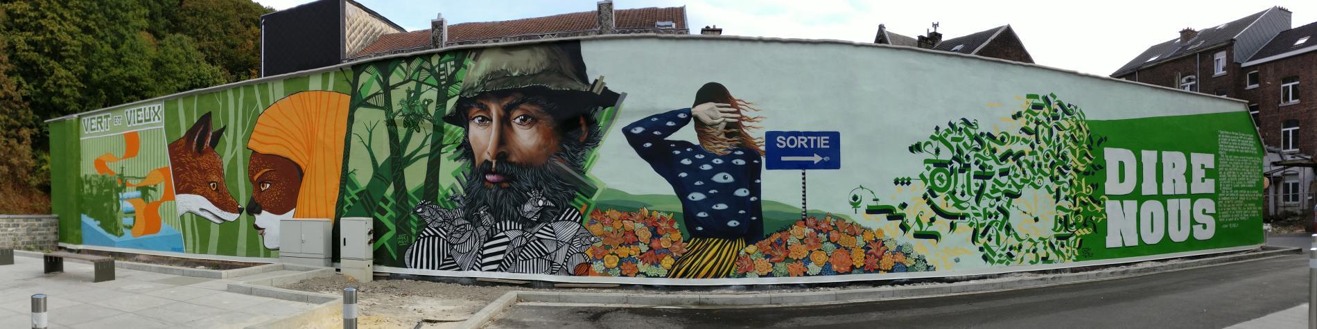 Parcours street art - Verviers - Vue de la fresque Dire Nous au parking des Récollets