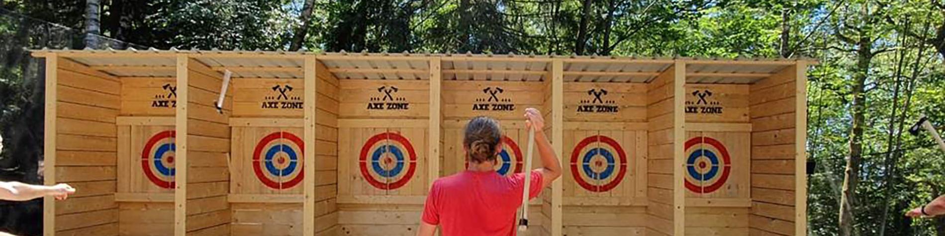 Lancer de hache - Paintball Sniper Zone - Paintball Outdoor - Malmedy - forêt des Fagnes - terrain de 10000 m²