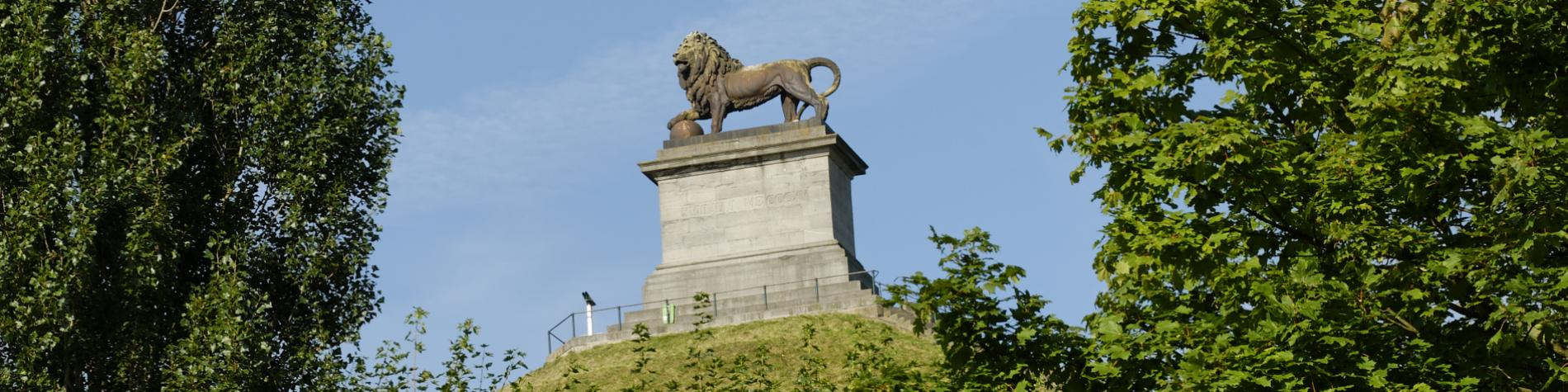 Admire the famous Lion's Mound in Waterloo