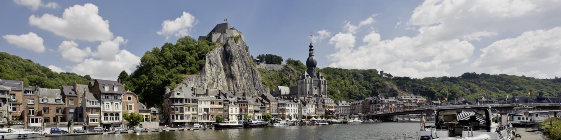 La collégiale et la citadelle de Dinant vues depuis la Meuse