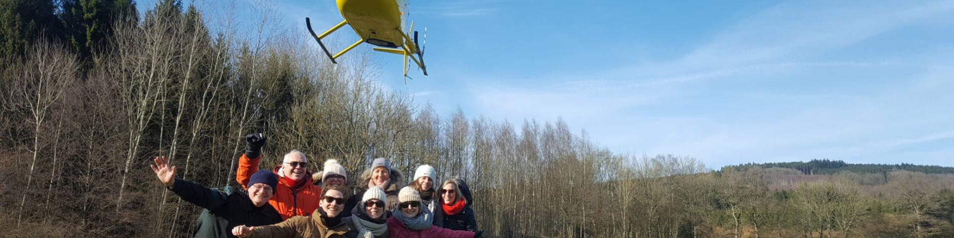 Teambuilding en hélicoptère avec Adrénaline Events en Wallonie