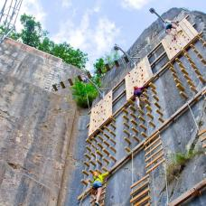 Click and climb, a 20 m high climbing wall at the the Adventure Valley Durbuy park