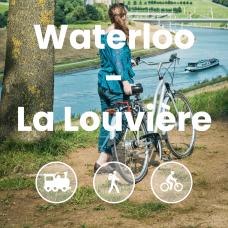 Femme et son vélo face au canal du centre